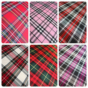"""TARTAN FABRIC MATERIAL BY THE HALF METRE 58"""" WIDE POLYVISCOSE CHECKS"""