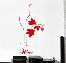 Wall Vinyl Decal Wine Vine Bottle Grape And Glass Big Decor For Kitchen z3852