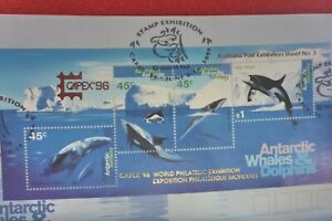 CAPEX 96 STAMP SHOW OVERPRINTED ANTARTIC WHALES DOLPHINS M/SH ON COVER  & PMK