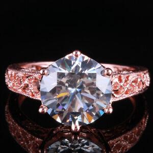 14K Rose Gold Solitaire Filigree Vintage Ring Round 10mm Cubic Zirconia Gemstone