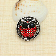 Beauty Rhinestone Red Owl Charm Chunk Snap Button fit for Noosa Bracelet BCD23