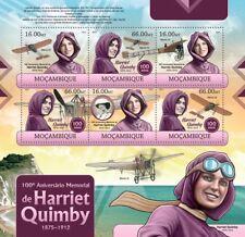 HARRIET QUIMBY Pioneer Aviator Bleriot XI Aircraft Stamp Sheet 1/2012 Mozambique
