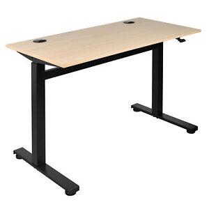 Höhenverstellbarer Schreibtisch Tischgestell o. Strom Braun 72,5-109,5cm