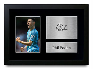 Phil Foden Signed A4 Framed Printed Autograph Manchester Man City Print Gift