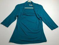 VTG Lamis Farinaz Taghavi Women's ¾ Sleeve Blouse Top XL Blue Stretch Rayon