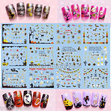 Halloween Nail Art Stickers Decals Transfers Silver Gold Spiders web Pumpkin