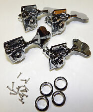Grover Jazz P Bass Guitar Tuners 142C4 NEW Chrome Tuning Machines Pegs 4 Inline