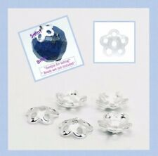 925 Solid Sterling Silver 5mm Flower Bead Cap Jewelry Findings  30pcs #5405-1