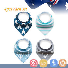 4pcs Baby Bibs Pure Cotton Bandana Feeding Kid Toddler Boy Gray Deer Triangle