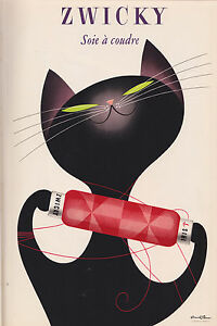 Zwicky Black cat vintage art print canvas painting A0 wall decor