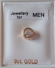 Brand New mens SINGLE 9ct Gold cubic zirconia rub over 5mm stud earring - boxed