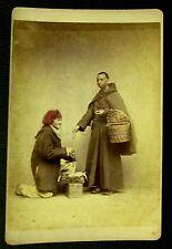 CABINET CARD Photo BLACK PRIEST CINCTURE ROPE BELT Man Woman Basket Box Antique