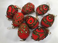 Vtg Red Flocked Christmas Egg Ornaments Made Handmade Lot of 8 Beaded