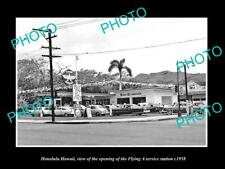 OLD POSTCARD SIZE PHOTO OF HONOLULU HAWAII THE FLYING A SERVICE STATION c1958