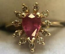 14K SOLID YELLOW GOLD BH EFFY PEAR SHAPED RUBY WITH GENUINE DIAMONDS RING Size 3