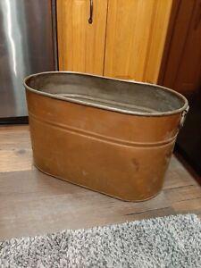 Vintage Copper Boiler Wash Tub Pot ORIGINAL