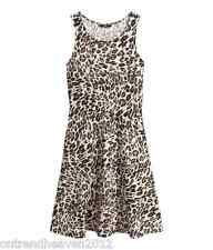 bnwt H&M DRESS UK 6/8 XS LEOPARD ANIMAL PRINT SOFT JERSEY STRETCH FLARED HEM