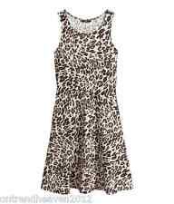 BNWT H&M Solera UK 6/8 XS Leopardo Animal Print Tramo Tejido Suave dobladillo acampanado