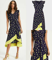 Phase Eight Womens 'Aurelia' Navy Blue & Lime Spot Occasion Midi Dress RRP £130