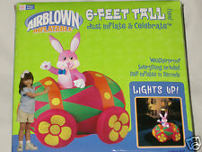 New 6' Gemmy Lighted Easter Bunny Rabbit in Egg Car Inflatable Airblown Blow-up