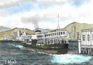 ORIGINAL AQUARELL - Star Ferry in Hong Kong.