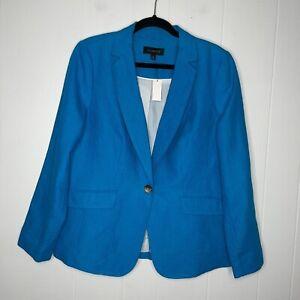 Talbots Women's 100% Linen Blazer Jacket Blue Size 10 NWT