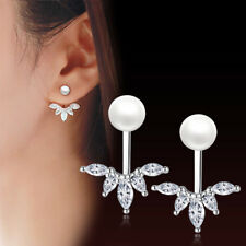 925 Sterling Silver Crystal Pearl Peacock Tail Earrings Stud For Charm Jewelry