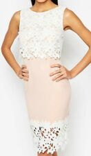 Lipsy Nude/pink White Laced Hem With 2 in 1laced Overlay Size 10
