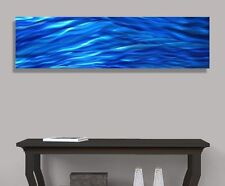 Blue Contemporary Metal Wall Art - Painting Home Decor Accent - Aqueous Flow