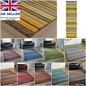 100% PURE WOOL SMALL EXTRA LARGE STRIPED MULTI COLOUR HAND WOVEN RUGS CARPET