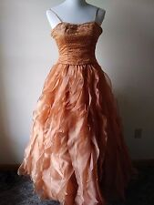 Jasz Couture Design by Adagio Bella Orange Taffeta Dress Size:4 Excellent Cond.