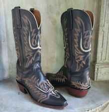 LUCCHESE 1883 women embroidered black leather western cowgirl boots 7B