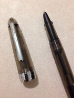 JINHAO 992 CLEAR BLACK CHROME TRIM EXTRA FINE FOUNTAIN PEN-CONVERTER-UK SELLER.