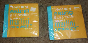 2 Pkgs I Don't Mind Eating If It's Possible To Make A Martini... M*A*S*H Napkins