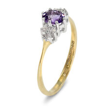 9 CT Yellow Gold Amethyst + Diamond Dress Ring - Size K  (00448)