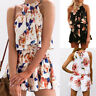 Damen Kurz Minikleid Neckholder Blumen Strand Overall Jumpsuit Playsuit Rompers