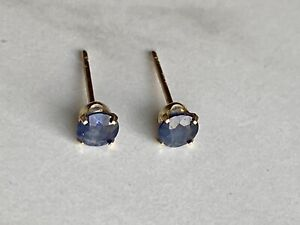 14K Gold And Blue Gemstone Stud Earrings 3.8 MM .40 CT Marked FI 14K No Backs