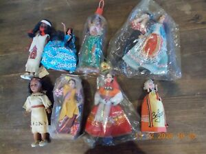 """8  VINTAGE COSTUME DOLLS ..  AMERICAN INDIAN . SPANISH. 8"""" Approx"""