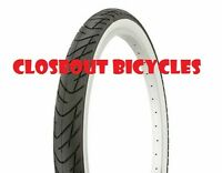 "ONE BICYCLE TIRE 24"" X 2.125 SLICK WHITE WALL BEACH CRUSIER LOWRIDER CHOPPER BMX"