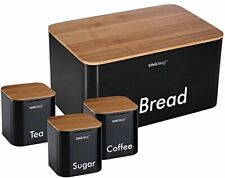 Kitchen Supplies  Black Storage Containers for Sugar Tea Coffee with Bread Bin