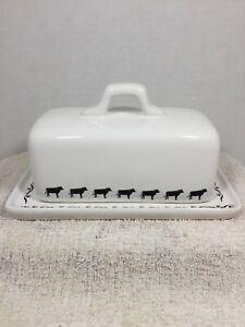 Vintage Porcelain LARGE Butter Dish Black Cows Scrolls Rustic Farmhouse Country