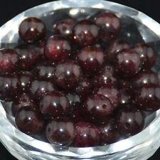 30PCS Wholesale Lot Natural Stone Garnet Gemstone  Round Spacer Loose Beads 6mm