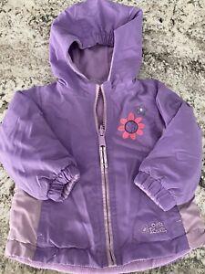 Toddler Girls Coat 18 24 months Purple Reversible Hodded