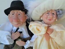 POLYMER ART CLAY DOLLS Grandma Grandpa Old Man Woman on Bench Signed ROI ?