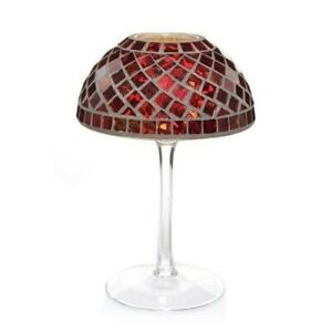 YANKEE CANDLE RED  & GOLD GLASS MOSAIC TEA LIGHT CANDLE LAMP