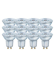 12 x OSRAM LED BASE PAR16 GU10 GLAS LED Strahler 4.3W=50W 36° 4000K Cool white