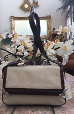 NWT Fossil Beige Canvas Leather Special Occasion/ Evening Handbag Purse MSRP $78