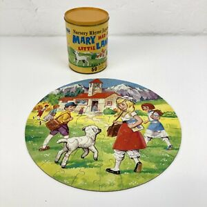 Vintage Nursery Rhyme Jigsaw Puzzle In Tin 'Mary Had a Little Lamb' 50 Pieces