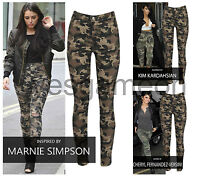 Womens Camouflage Print Trouser Ladies Army Denim Skiny Jegging Pants Jeans Size