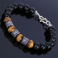 Men's Women's Black Obsidian Tiger Eye Bracelet Sterling Silver OM Spacers 123